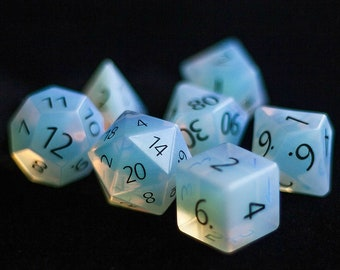 ENGRAVED Opalite Gemstone Polyhedral Dice Set:  Hand Carved with Quality! Full-Sized 16mm. Great for DnD RPG Dungeons and Dragons