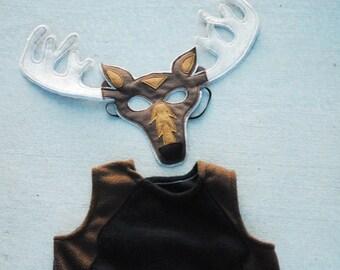 Moose Costume - Mask, Vest, Mask & Vest Combo