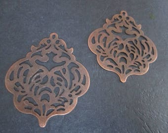 2 large prints / 61 x 50 mm copper filigree charms