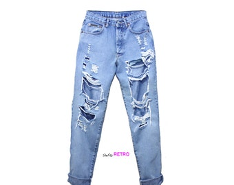 All SIZES - Vintage Destroyed High Waisted Boyfriend Jeans