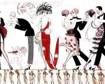 Wonderful 1920's Colour Illustration Of Flapper Women & Men Dancing The Tango  5x7 Greeting Card