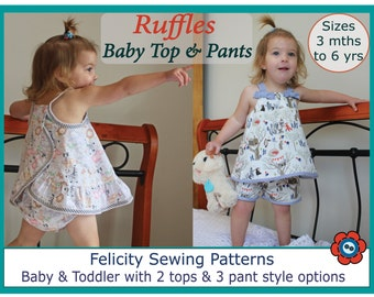Baby top and pants pdf sewing pattern, RUFFLES Baby Top & Pants baby girls 3 mths to 6 yrs, pdf pattern multiple options