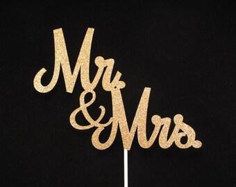 Mr and  Mrs Cake Topper, Mr. and Mrs Gold Glitter Cake Topper, Wedding Cake Topper, Gold Glitter Wedding Cake Topper