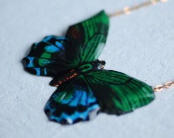 Butterfly Necklace ... Pendant Vintage Japanese Moth Tin Metal Enamel