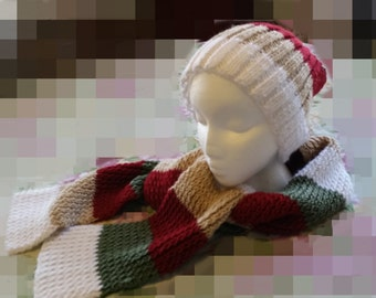 Multicolor Knit Hat and Scarf