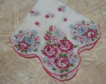 Vintage Hankie Handkerchief Pink Floral Design