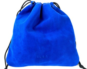 Drawstring Suede Pouch, Large Blue Pouch