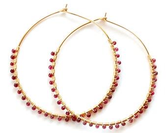 Garnet Hoop Earrings, Gold Garnet Hoops, Silver Garnet Hoops, Gold Garnet Earrings, Silver Garnet Earrings
