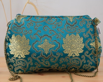 Golden clutch,green clutch,oriental print,oriental purse,chinese clutch,yellow bag,silk clutch,silk bag,oriental fabric,hindu clutch,hippie