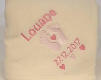 Very soft and comfortable to customize Plaid fleece baby birth keepsake gift