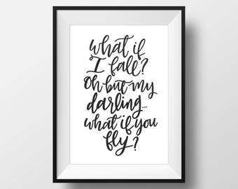 Quote Wall Print // Digital Download Art. Printable Typography Wall Art. Inspirational Wall Decor. Digital Download. Hand Lettered Print
