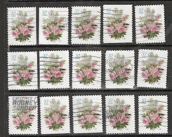 25 GARDEN BOUQUET Used & Cancelled U.S. 37c Postage Stamps (Pink Flowers with Greenery on a white Background)