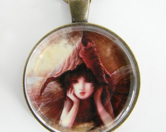 AUTUMN LEAF FAIRY Necklace, Magical fairy child peeks out from underneath a leaf, Friendship token
