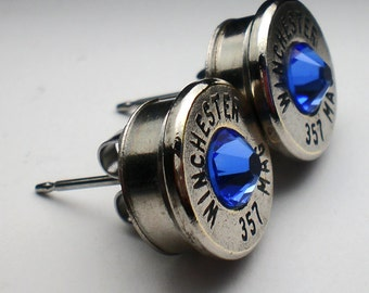357 Magnum Winchester Nickel Bullet Head Stud Earrings Your Choice of Birthstone Swarovski Crystal