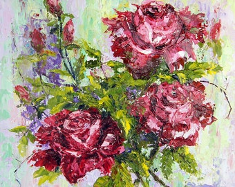 Original flower painting, Valentine's Day, dark red roses floral still life original palette knife oil painting, 12x12 impasto painting,