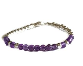 Amethyst bracelet, Amethyst jewelry, Stacking bracelet, Amethyst beads, Beads bracelet, Silver beads bracelet, Beaded bracelet, Gift for her