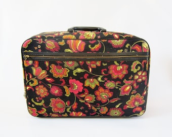 Vintage Luggage Laptop Case Tote FLOWERS Canvas with Key 1970s