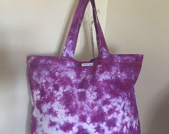 Purple shibori cotton maxi shopper bag