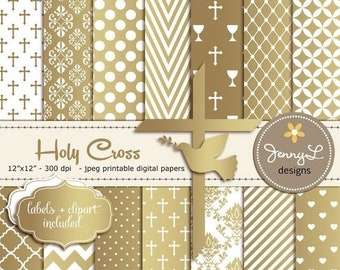 50% OFF Gold Baptism Digital Papers, First Communion, Religious, Christening, Holy Week Cross and Dove Baptismal Clipart, Dedication, Planne