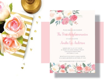 GIRLS FIRST COMMUNION Invitation Blush Pink Peach Watercolor Floral   Beautiful Shabby Chic First Communion Invitation for Girl   Baptism