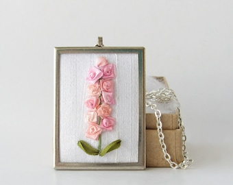 Pink larkspur necklace, July birth flower necklace, silk ribbon embroidery, embroidered jewelry, Mother's Day gift, botanical necklace