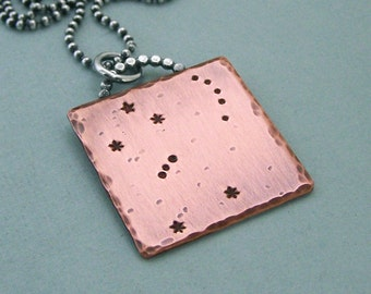 Constellation Necklace - Orion - Hand Stamped Copper and Sterling Silver