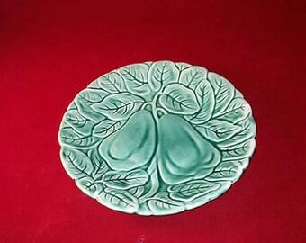 Majolica Green Leaf Snack Plate
