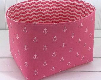 Storage Basket Anchor Baby Girl Nautical Nursery Decor Fabric Basket Toy Storage Baby Shower Gift Pink Anchors