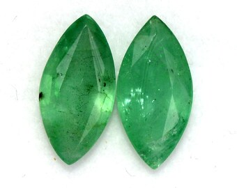 1.58 CTS Certified Natural Emerald Marquise Cut Pair 10x5 mm Untreated Loose Gemstones