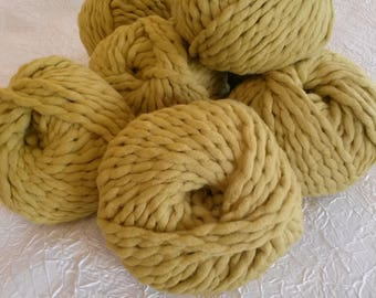 set of 9 large xxl mustard yellow merino wool yarn. 100 g.