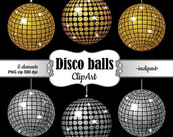 Disco balls clipart. Party clipart. Disco balls gold and silver glitter clip art 8 sparkle disco balls. Digital download PNG.