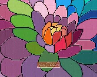 Rainbow dahlia - modern cross stitch kit, colourful