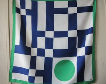 Vintage Vera scarf polyester geometric blue green white 27 x 28 inches