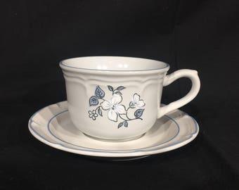 Vintage Tea Cup & Saucer, Covington Edition Avondale Stoneware, Blue Floral Garden Mugs, Decorative Coffee Cup and Saucer, Ceramic Tea Set