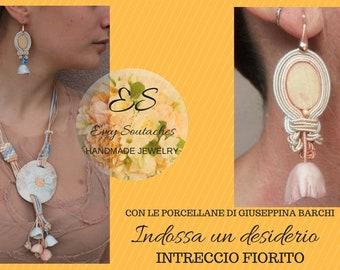 SOUTACHES Porcelain Sets-earrings necklace-Porcelain earrings-SOUTACHES necklace-matching earrings necklace-bells