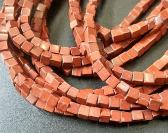 Natural Red stone 4x4x4mm- approx 90pcs/Strand