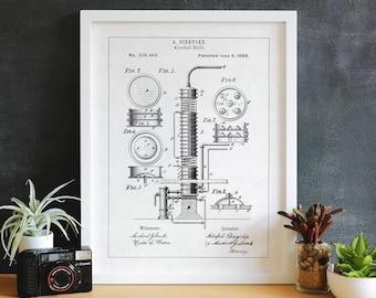 "Vintage Alcohol Still Patent Illustration, 5x7, 8x10, 11x14, 16x20, 20x30"" Patent Prints, Patent Drawings, Patent Art, Patent Poster"