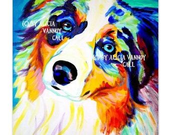 Australian Shepherd, Pet Portrait, DawgArt, Dog Art, Pet Portrait Artist, Colorful Pet Portrait, Aussie Art, Art Prints
