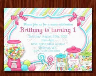 Süße Shoppe Geburtstags-Einladung druckbare digitale Datei