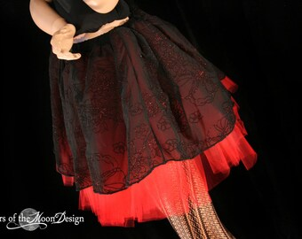 Red Midnight flower sparkle Extra Long tutu skirt adult -- You Choose Size -- Sisters of the Moon