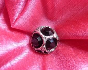 chic black rhinestone and silver metal button * 2.2 cm *.