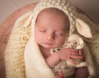 Newborn Lamb Bonnet Photography Prop, MADE TO ORDER