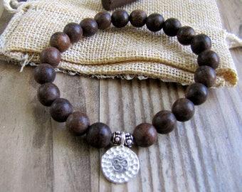 Black Sandalwood Ohm Bracelet Sandalwood Bracelet Sterling Silver Ohm Bracelet Yoga Bracelet Buddhist Bracelet Yoga Jewelry Boho Jewelry