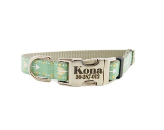 Personalized Dog Collar, Gold Arrow Print, Mint Green Tribal Arrow, All Sales Final,