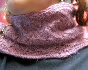 Knit Cowl Pattern:  Fuzzy Lace Fountain Stitch Neck Warmer Knitting Pattern