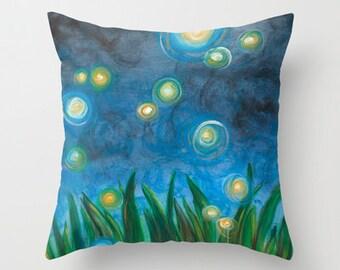 Fireflies Art Pillow Cover 16x16, 18x18 or 20x20
