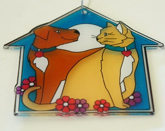 Vintage 80s-90s Cat And Dog Sign/ Ornament /Shelter Decor/Window Decor