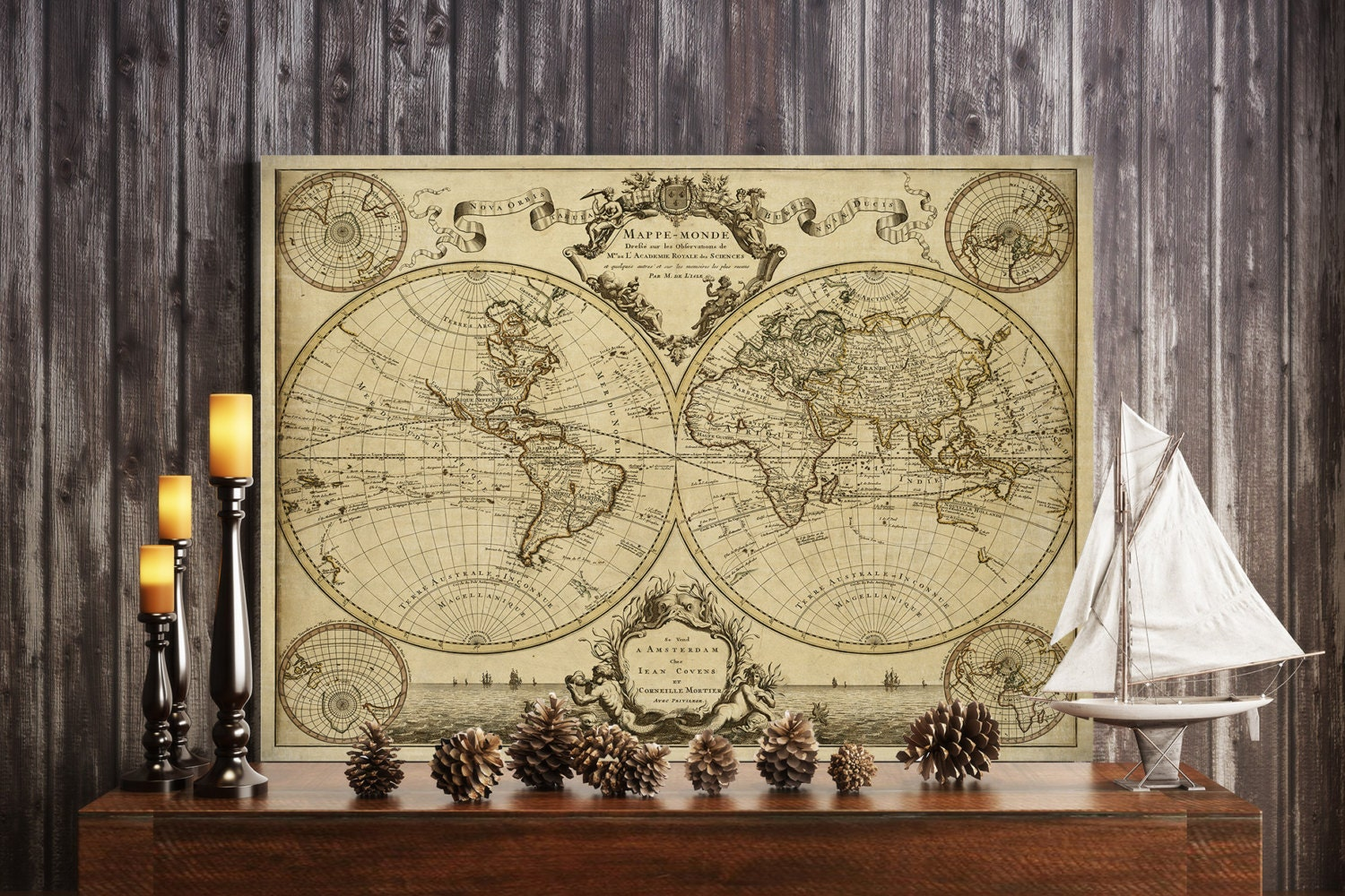 1720 Old World Map map art Historic Map Antique Style World