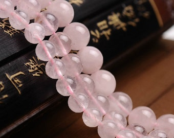 4mm-14mm Natural Rose Quartz Beads, Smooth Round, 15.4 Inch Strand (GR01)