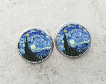 Van Gogh Starry Night earrings, Starry Night earrings, Van Gogh earrings, fine art earrings, Starry Night studs, Starry Night posts, AR145E